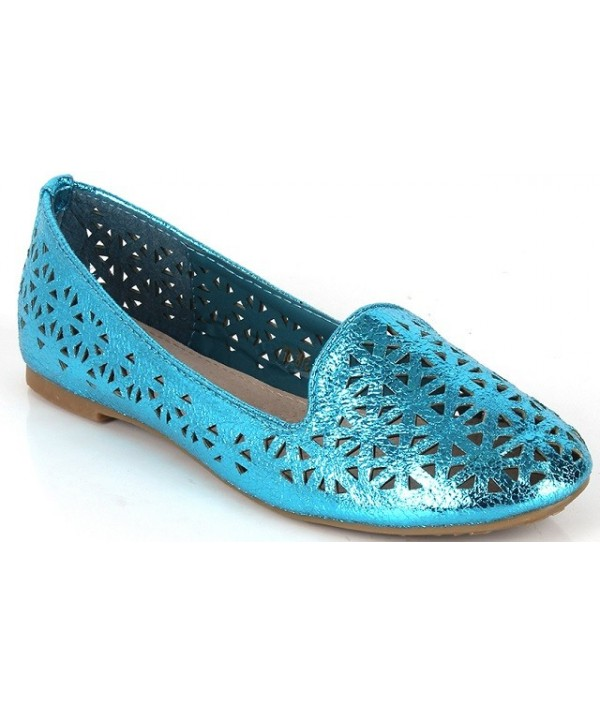 Modré dámské balerínky