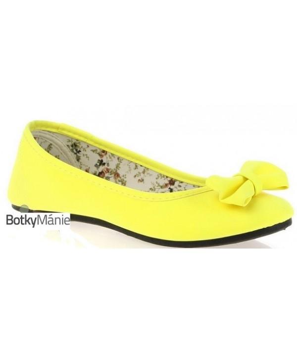 Žluté neonové dámské balerínky